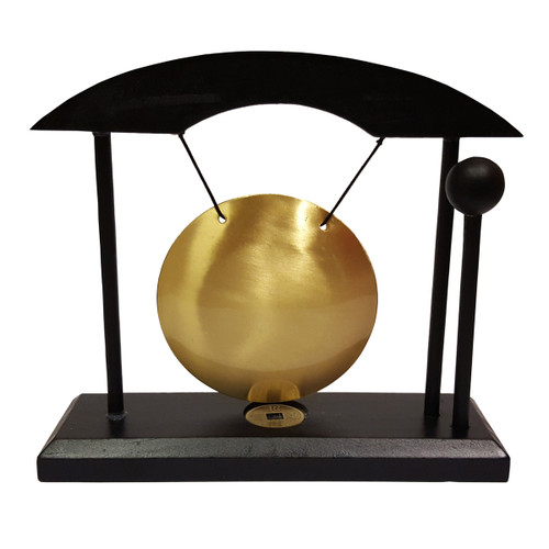 Table Gong in Black Wooden Stand (8cm Diameter)