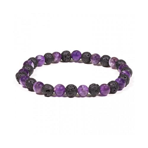 Lava Bead Bracelet with Amethyst