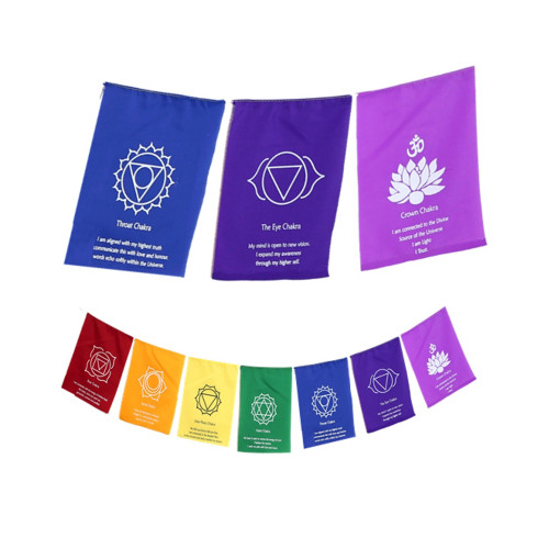 7 Chakra Flags on a String with Affirmation