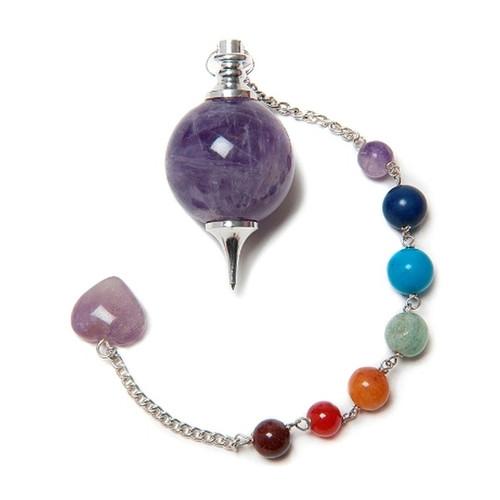 Round Amethyst Pendulum with 7 Chakra Chain