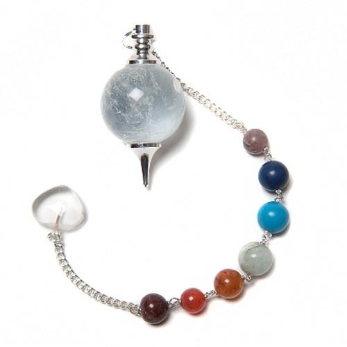 Round Clear Quartz Pendulum with 7 Chakra Chain