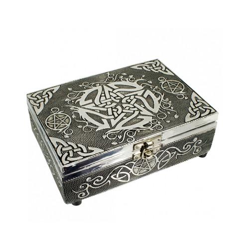 Celtic Pentacle Wooden Embossed Storage Box