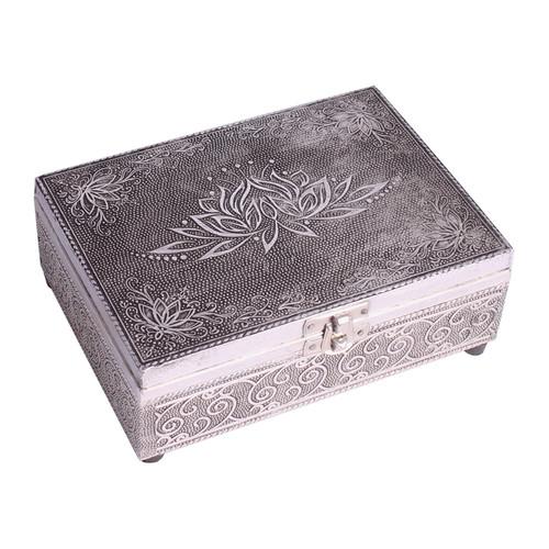 Lotus Flower Wooden Embossed Storage Box