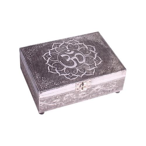 Om Symbol Wooden Embossed Storage Box
