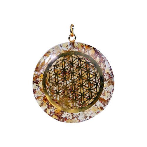 Orgone Flower of Life Citrine Pendant