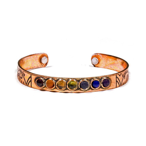 Magnetic Copper Bracelet with 7 Chakra Stones
