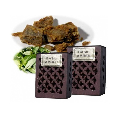 Basil / Amber Incense Resin in Wooden Box