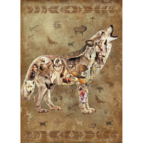 Native American Wolf Collage Magnet