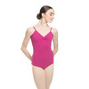 COTTON-SPANDEX PINCHED CAMISOLE LEOTARD