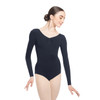 COTTON-SPANDEX PINCHED FRONT LONG SLEEVE LEOTARD