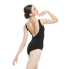 Cotton-Spandex Pinched Low-Back Leotard