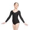 NYLON-SPANDEX PINCHED FRONT LONG SLEEVE LEOTARD