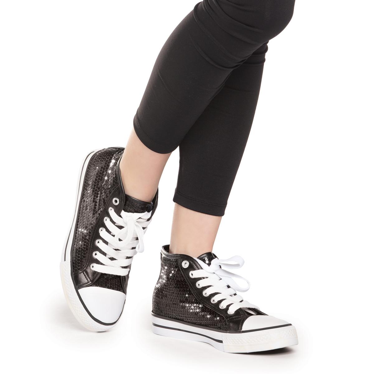 High Top Sequin Sneaker | Black
