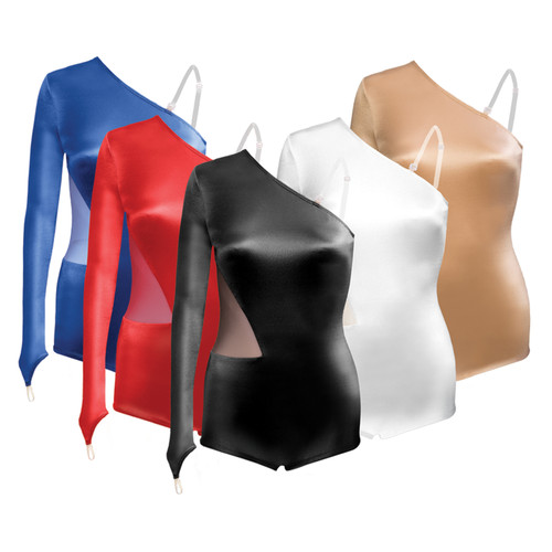 Mesh Inset Satin Leotard