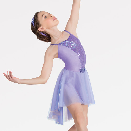 Child XL Violet color Contemporary Ballet Dance Dress Costume Sheer Long Sleeved