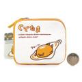 Sanrio Gudetama Lazy Egg Tough Canvas Fabric Coins Wallet ( Front View & Proportion )