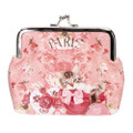 Japan Elegant Pink Flower With Kitten Pouch Ball Clasp Purse Coin Wallet ( Front View )