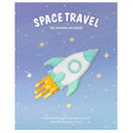 Kawaii Cyan Color Rocket Flying In Universe Iron On Patch ( Cover )