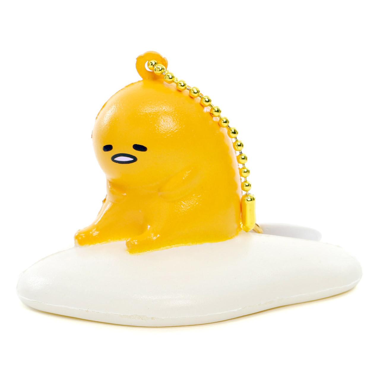 Sanrio Gudetama Lazy Egg Mascot Sitting Model Soft Squishy Charms Cellphone Charms ( Side View )