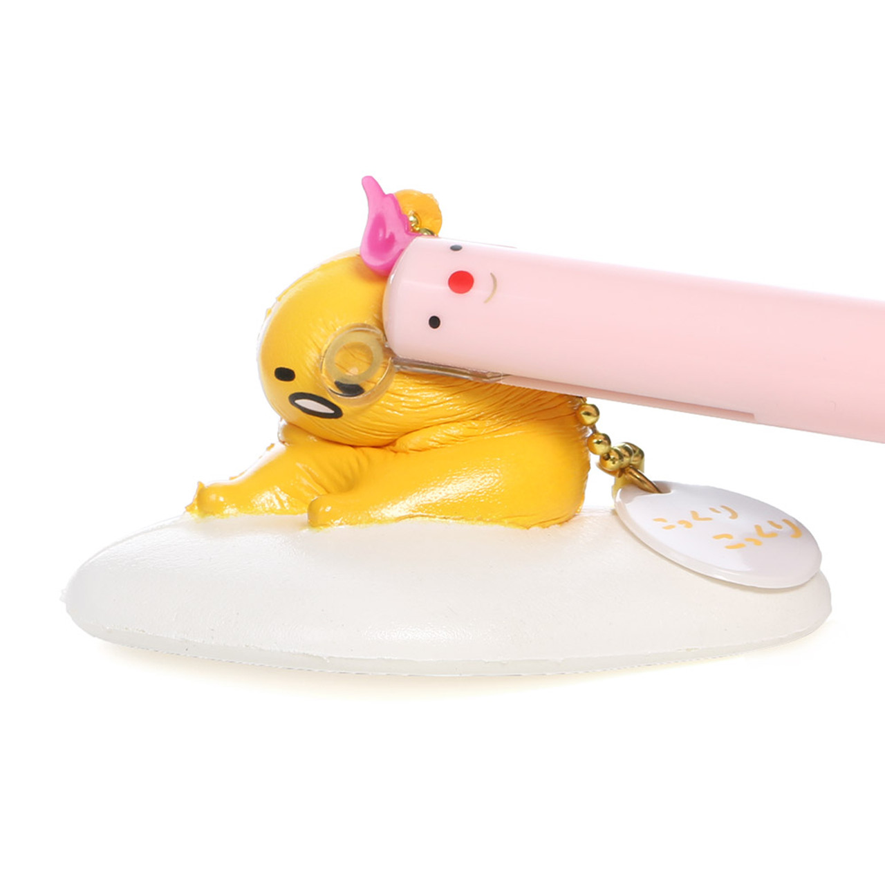 Sanrio Gudetama Lazy Egg Mascot Sitting Model Soft Squishy Charms Cellphone Charms ( Squeezing Mode )