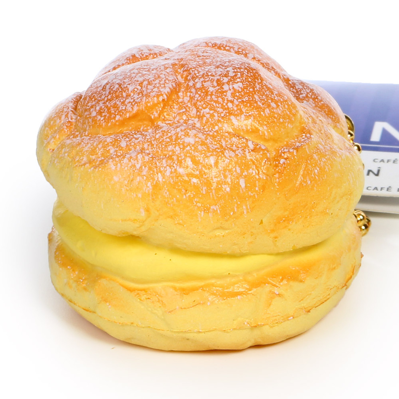 Café De N Custard Cream Puff Dessert Squishy Toy Cellphone Charms ( 45 Degree Angle )