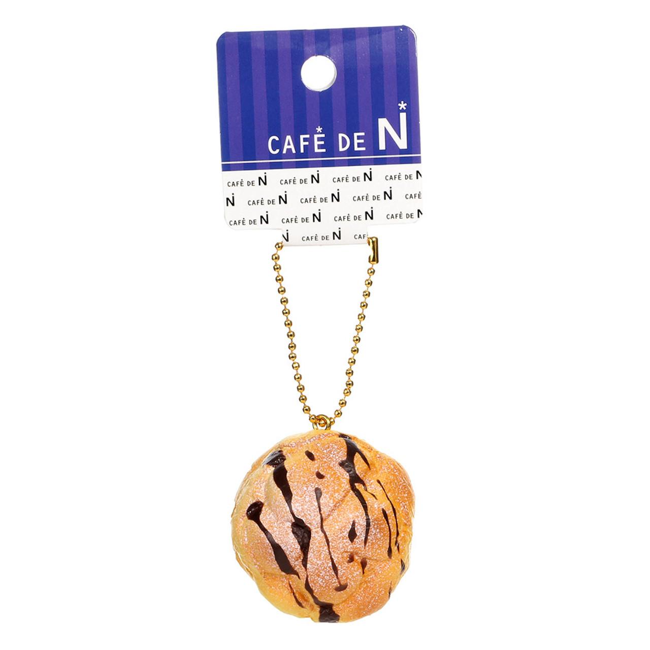 Café De N Chocolate Cream Puff Dessert Squishy Toy Cellphone Charms ( Tag View )