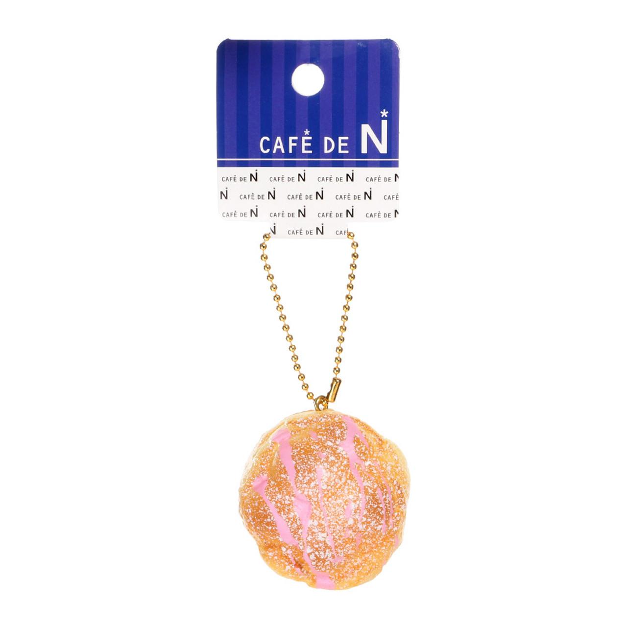 Café De N Strawberry Cream Puff Dessert Squishy Toy Cellphone Charms ( Tag View )