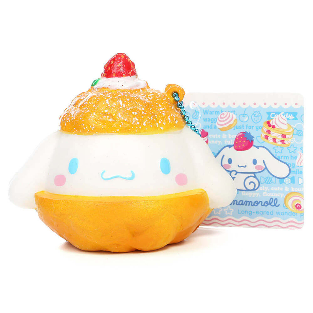 Sanrio Cinnamoroll Kawaii Mascot Puff Cream Dessert Soft Squishy Charm ( Front View )