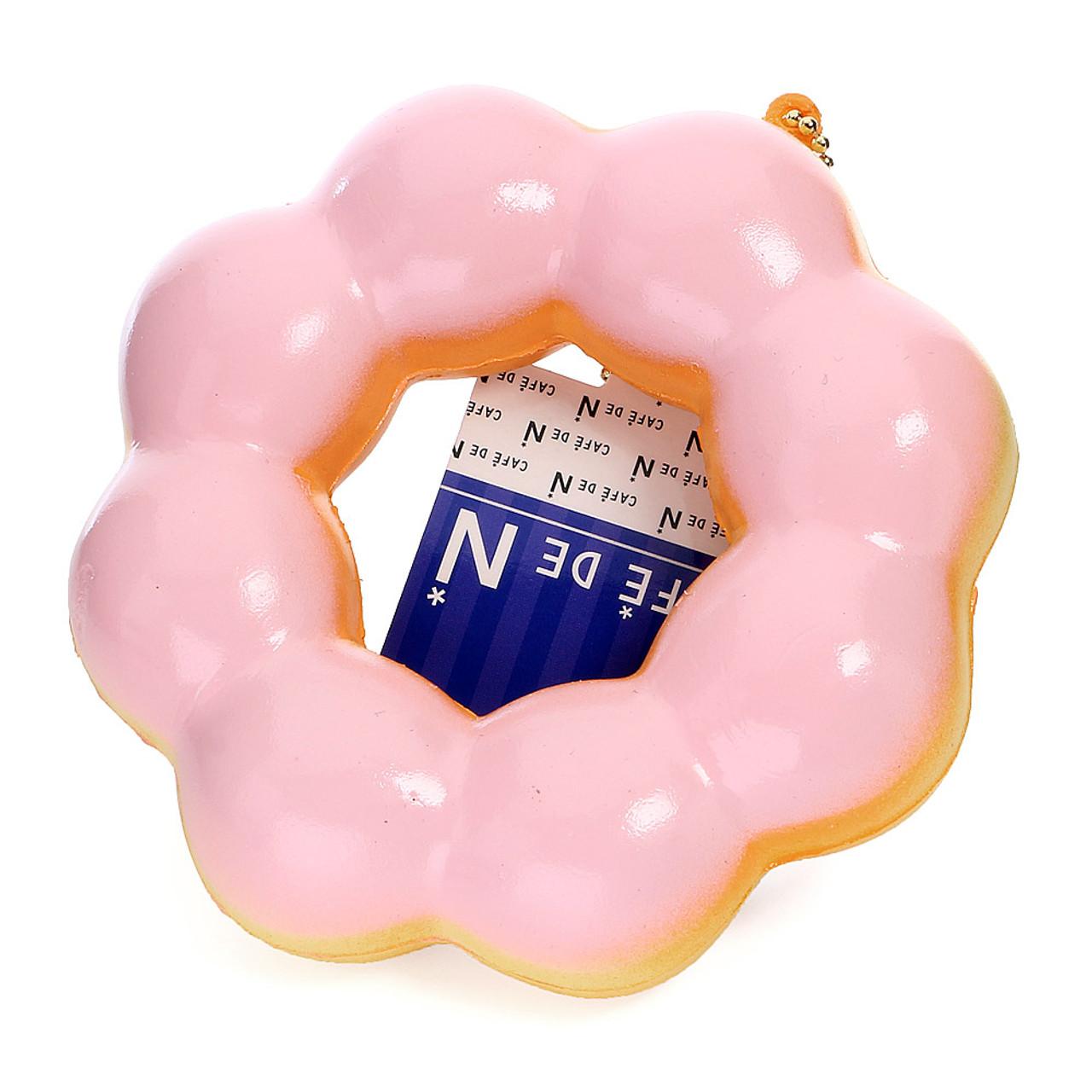 Café De N Strawberry Cream Pon de Ring Donut / Doughnut Super Soft Squishy Cellphone Charms ( 45 Degree Angle )