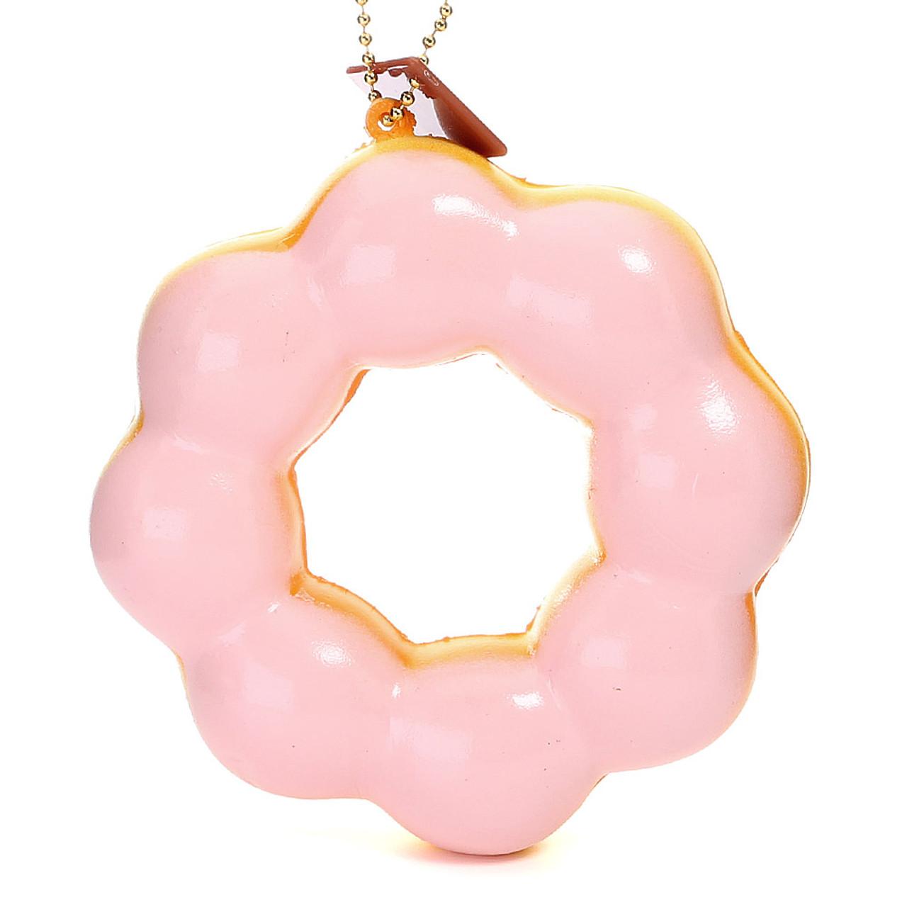 Café De N Strawberry Cream Pon de Ring Donut / Doughnut Super Soft Squishy Cellphone Charms ( Front View )
