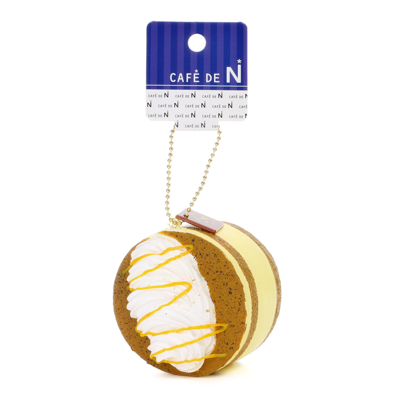 Café De N Tiramisu Squishy Caramel Yellow Brown Soft Kawaii Cellphone Charms ( Tag View )