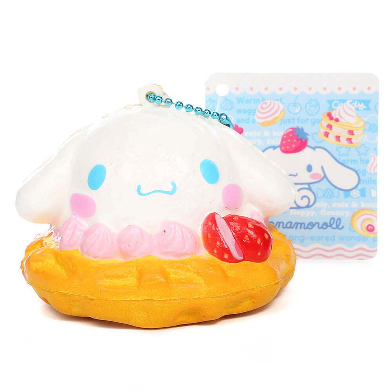 Sanrio Cinnamoroll Kawaii Mascot Waffle Cream Dessert Soft Squishy Charms ( Front View )
