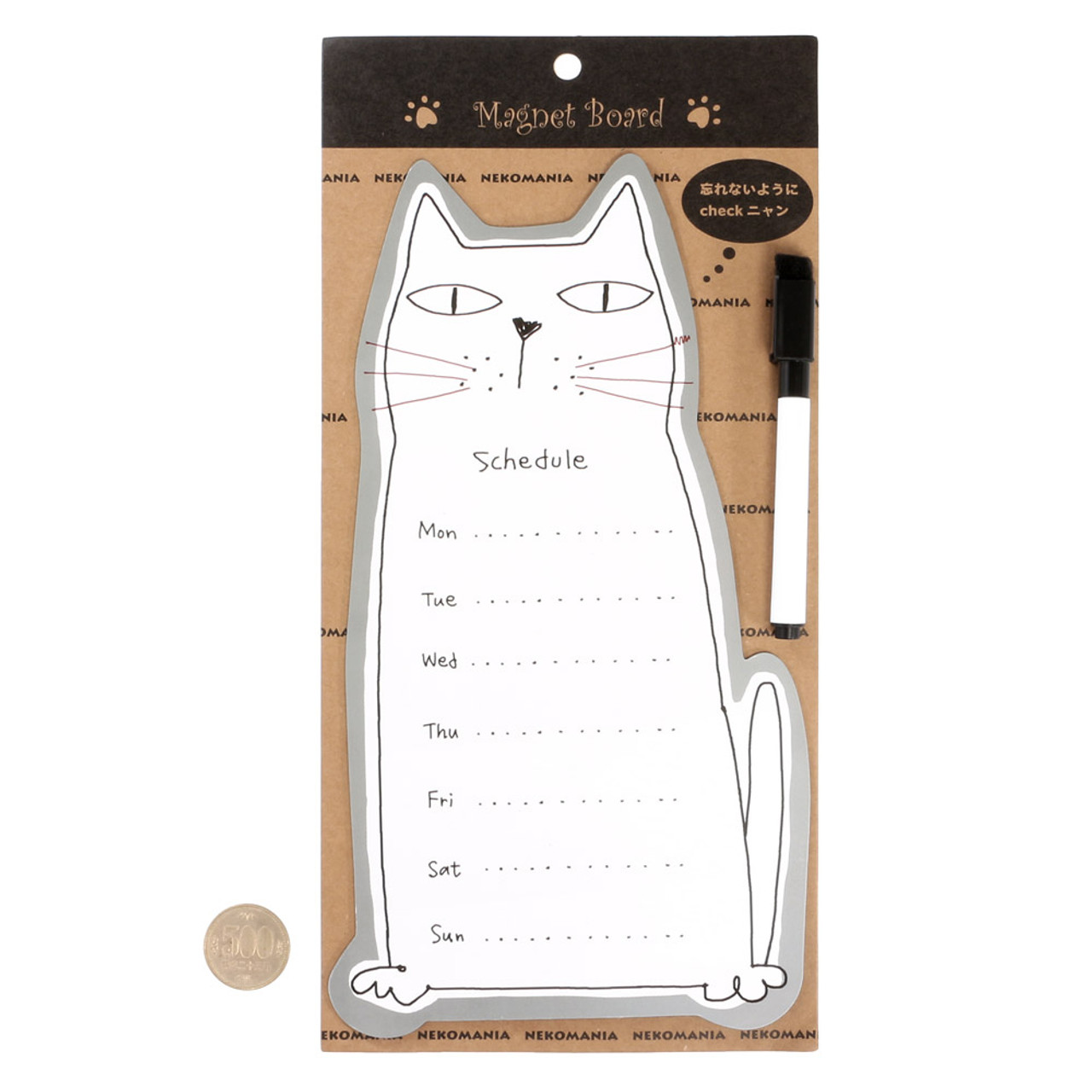 Noafamily Nekomania Grey Cat Magnet Schedule white board with Board Marker ( Proportion )