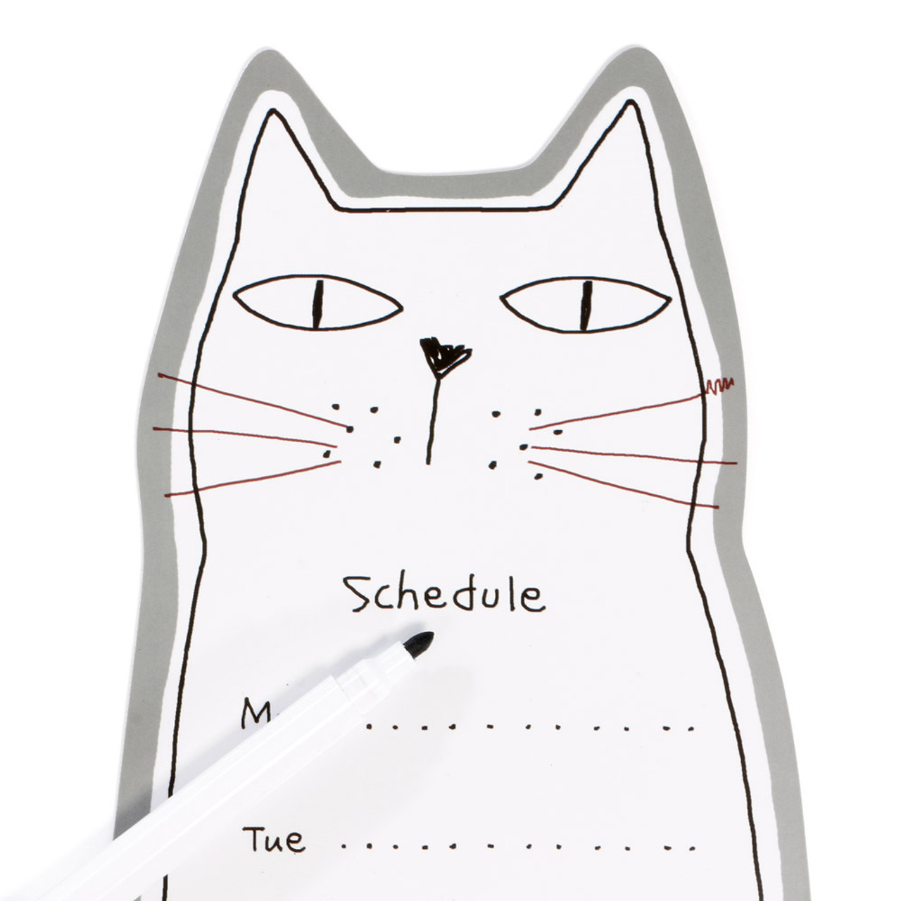 Noafamily Nekomania Grey Cat Magnet Schedule white board with Board Marker ( Close-up )