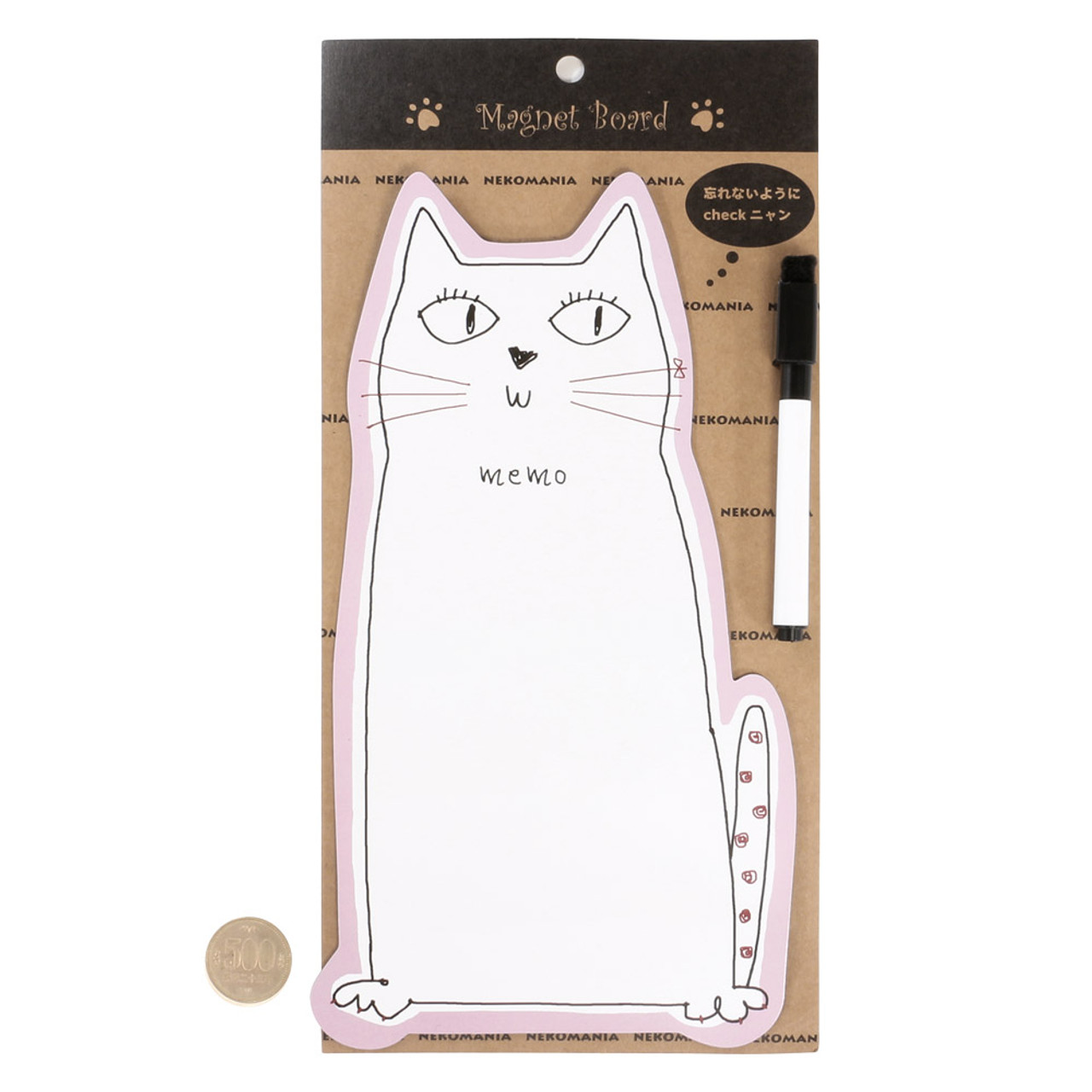 Noafamily Nekomania Pink Cat Magnet Schedule white board with Board Marker ( Proportion )