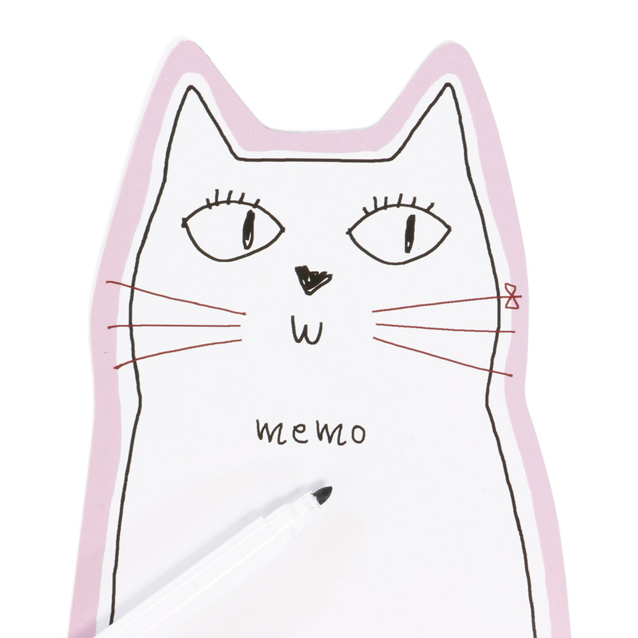 Noafamily Nekomania Pink Cat Magnet Schedule white board with Board Marker ( Close-up )