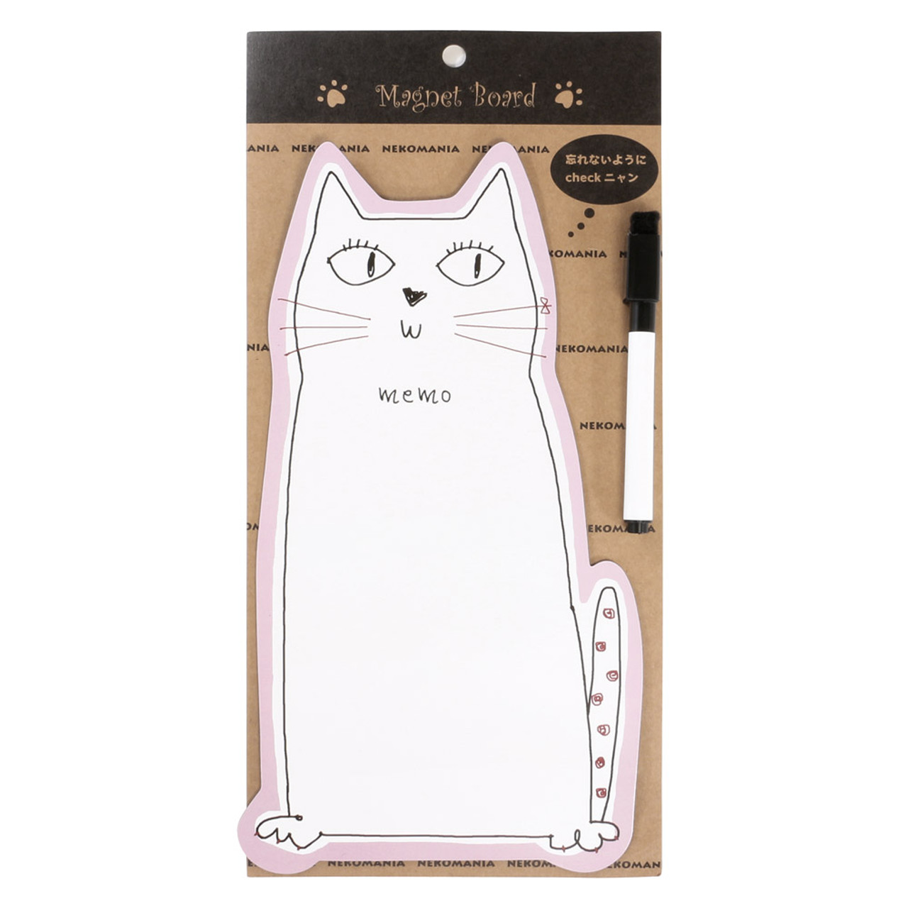Noafamily Nekomania Pink Cat Magnet Schedule white board with Board Marker ( Front View )