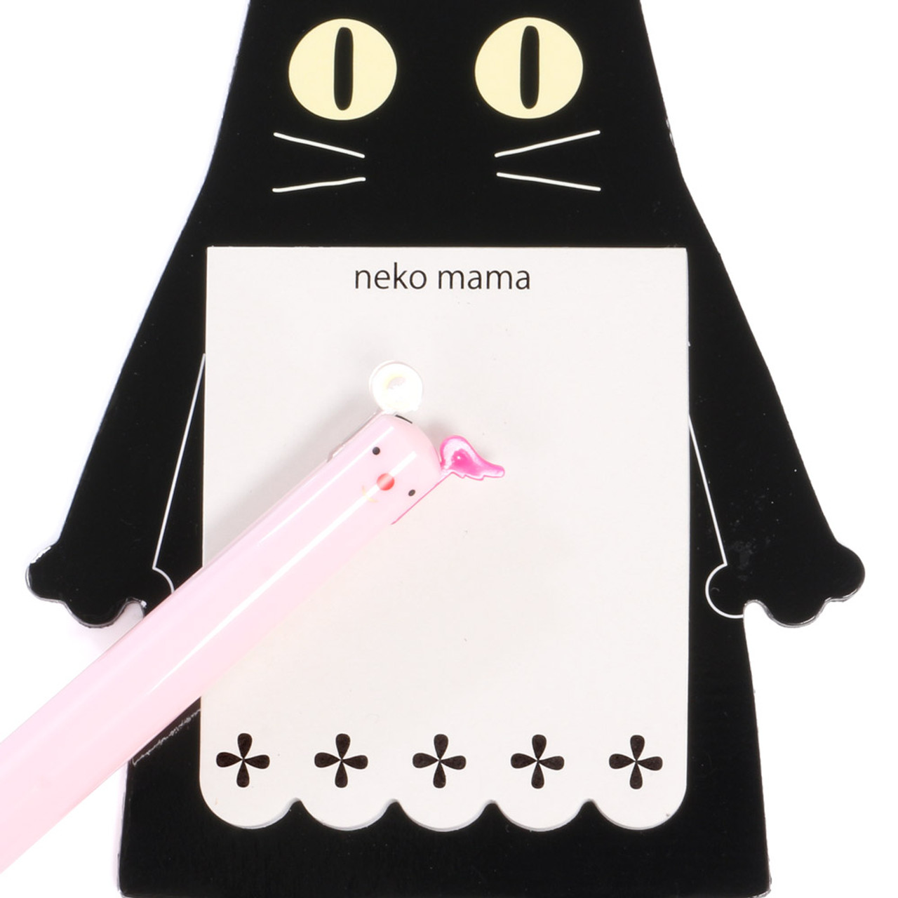 Noafamily Nekomama Black Cat Magnet Memo Pad 48 sheets ( Close-up )