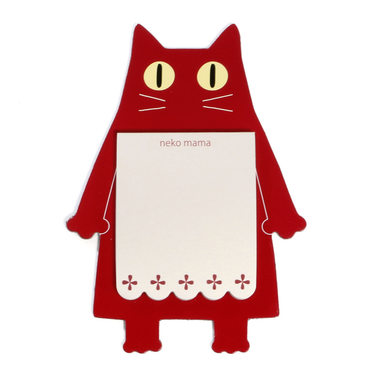 Noafamily Nekomama Red Cat Magnet Memo Pad 48 sheets ( Front View )