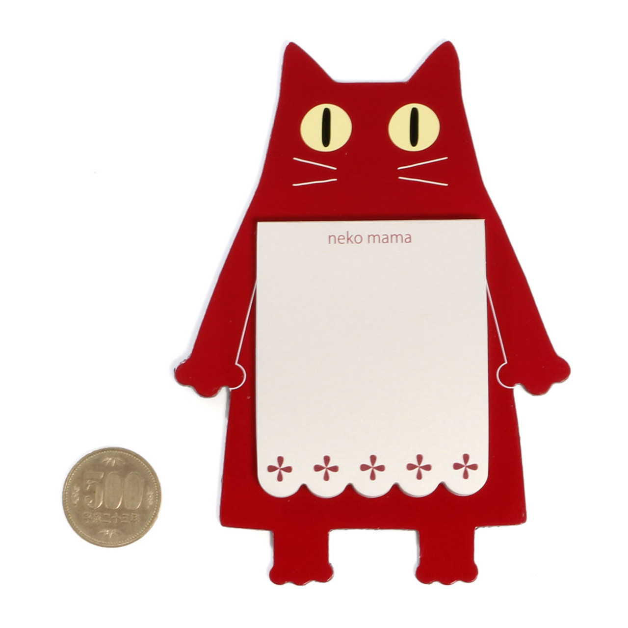 Noafamily Nekomama Red Cat Magnet Memo Pad 48 sheets ( Proportion )