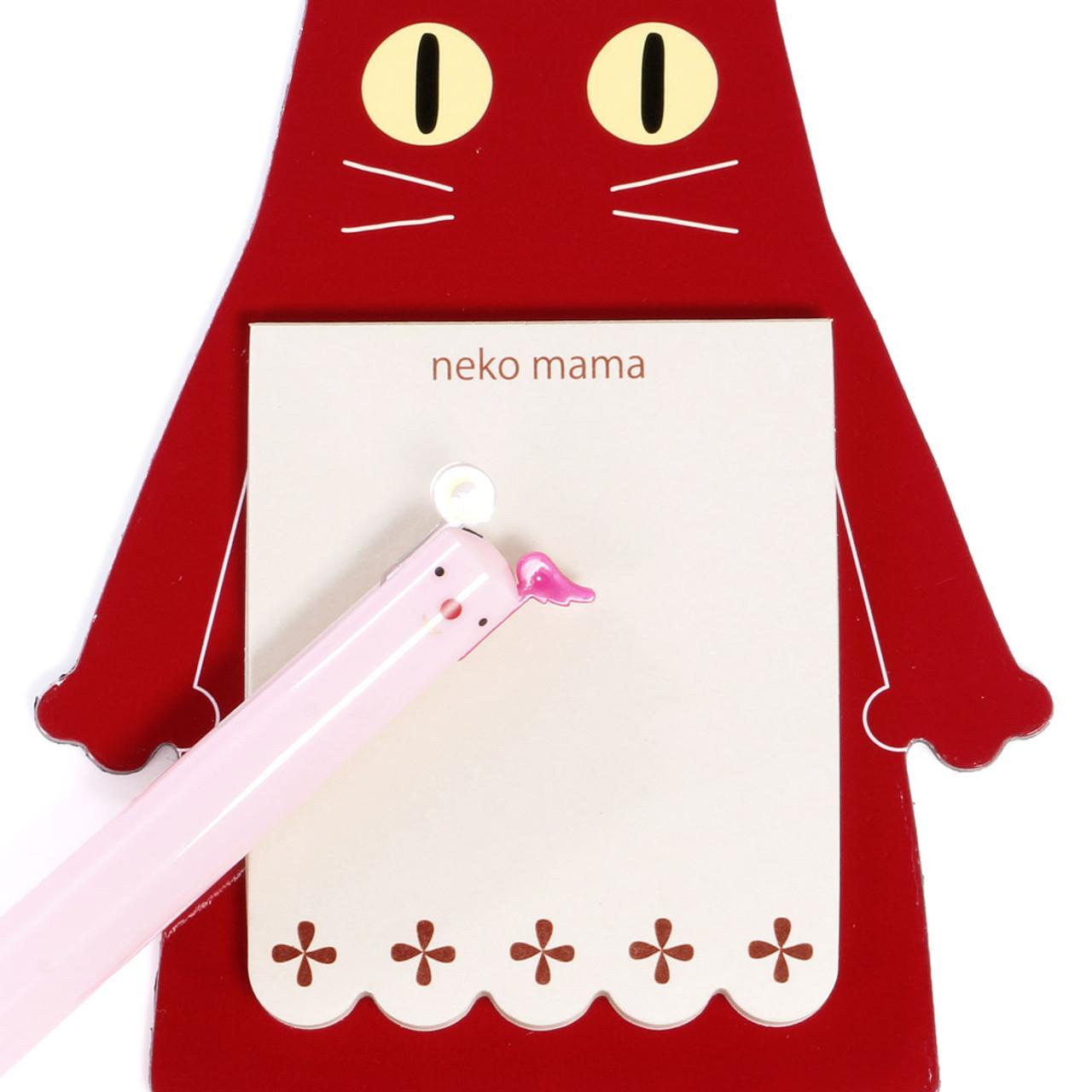 Noafamily Nekomama Red Cat Magnet Memo Pad 48 sheets ( Close-up )