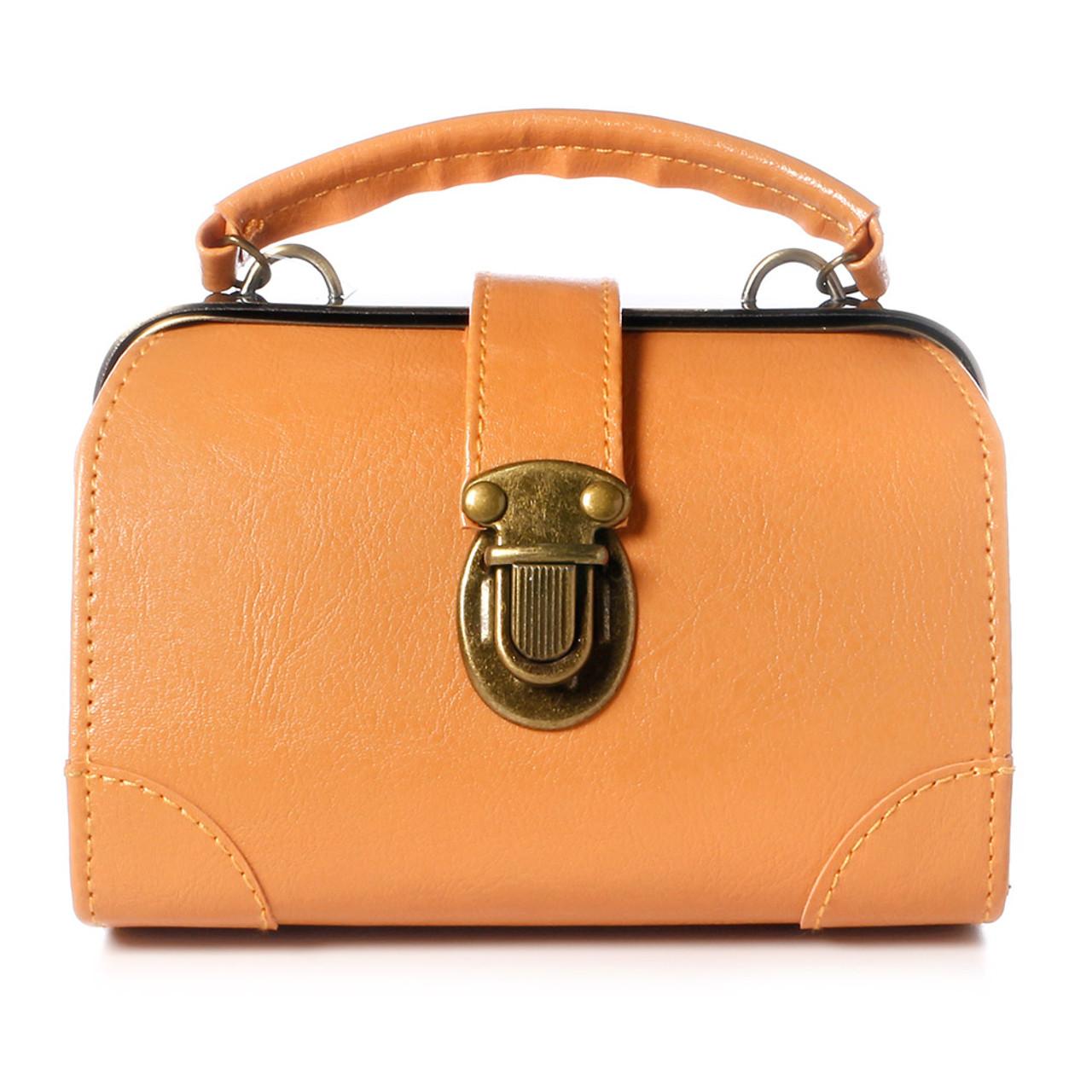 40976106347f Seto Craft Motif Mini Doctor Bag Shape Pouch / Cosmetic Bag - Camel Color