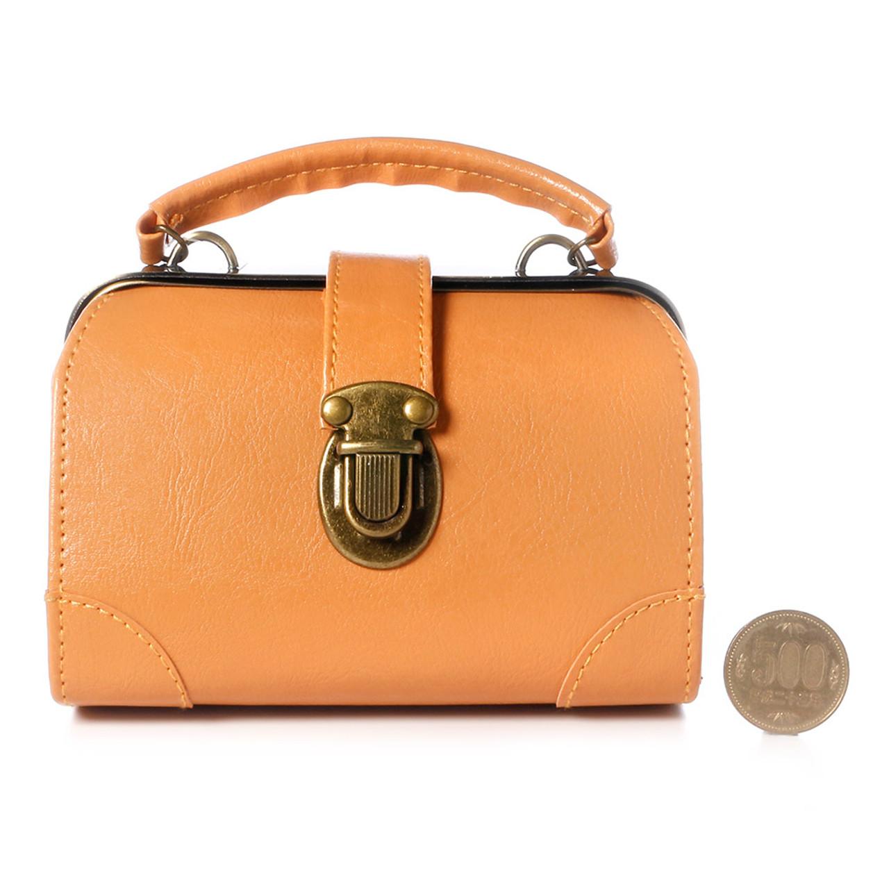 Seto Craft Motif Mini Doctor Bag Shape Pouch / Cosmetic Bag - Camel Color ( Proportion )