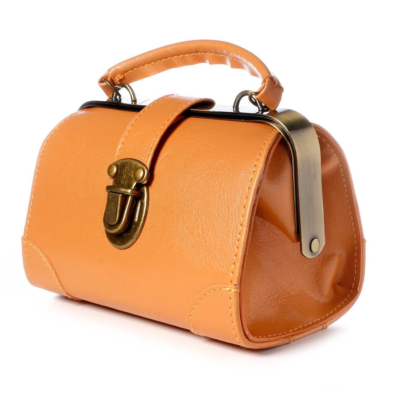 Seto Craft Motif Mini Doctor Bag Shape Pouch / Cosmetic Bag - Camel Color ( Side View )