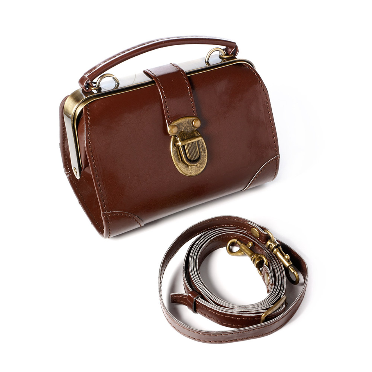 Seto Craft Motif Mini Doctor Bag Shape Pouch / Cosmetic Bag - Brown Color ( Feature 01 )