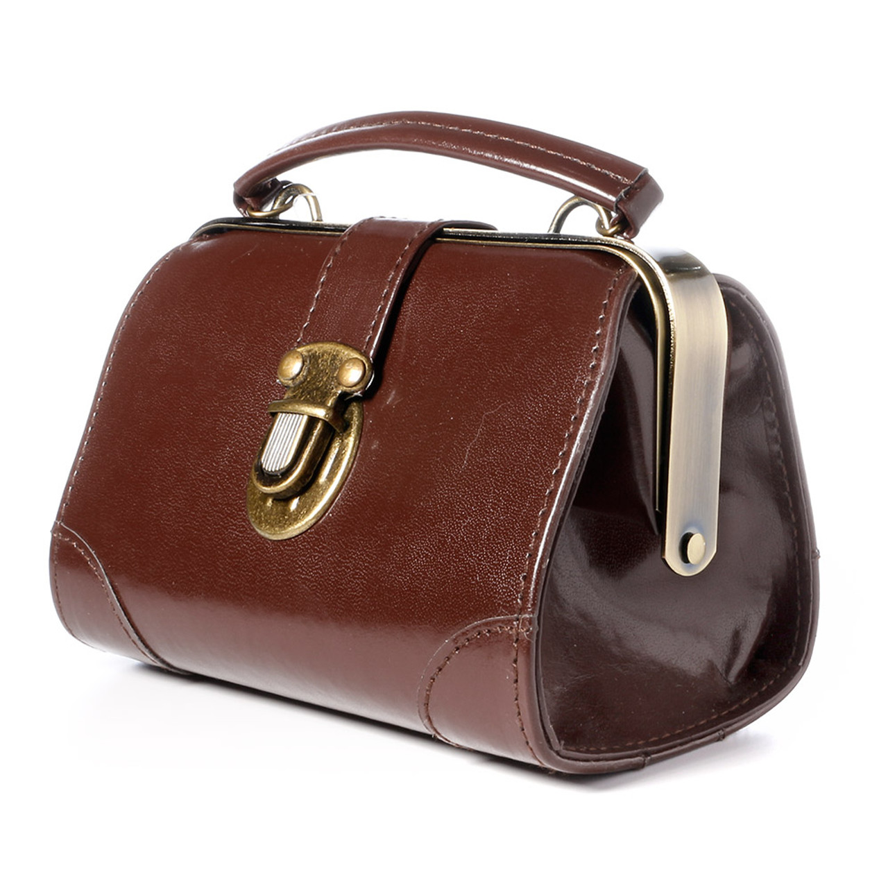 Seto Craft Motif Mini Doctor Bag Shape Pouch / Cosmetic Bag - Brown Color ( Side View )
