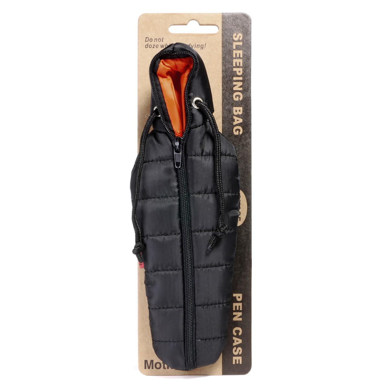 Seto Craft Motif Mini Outdoor Camping Style Sleeping Bag Shape Pen Case - Black ( Front View )