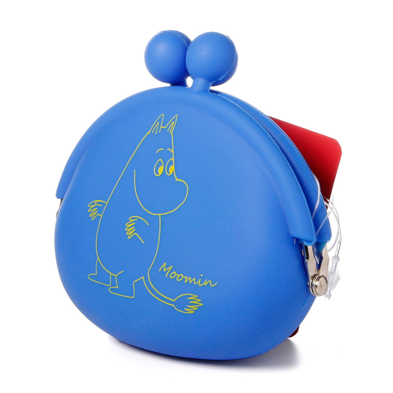 Moomin Valley Moomintroll Blue Silicone Ball Clasp Frame Coins Wallet ( Side View )