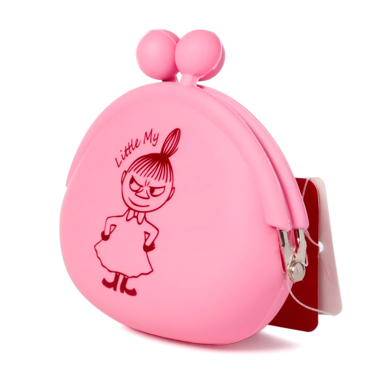 """Moomin Valley """" Little My """" Pink Silicone Ball Clasp Frame Coins Wallet ( Side View )"""