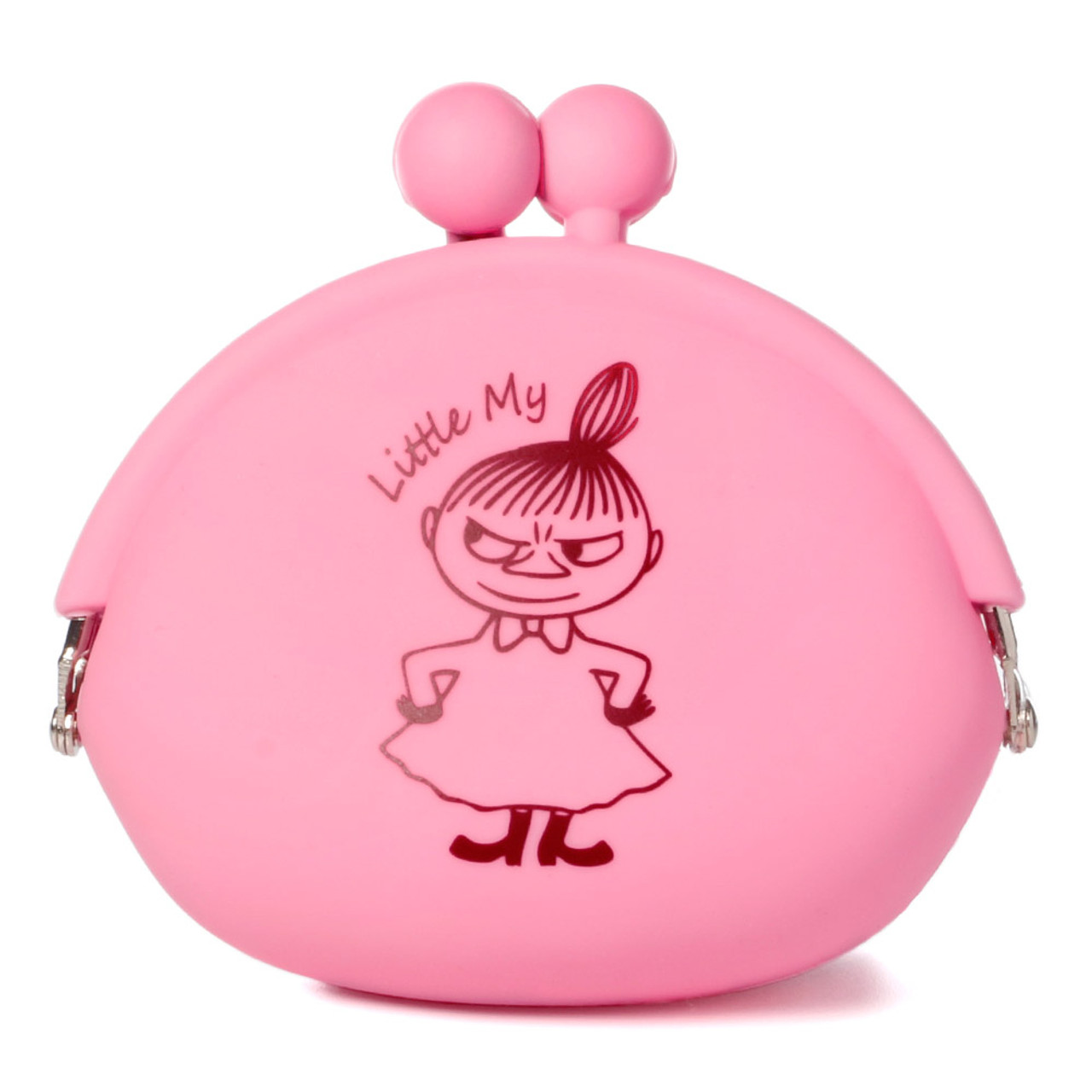 """Moomin Valley """" Little My """" Pink Silicone Ball Clasp Frame Coins Wallet ( Front View )"""